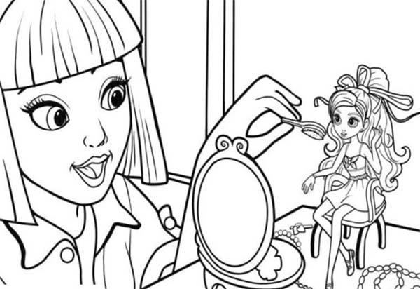 Barbie Makeup Coloring Pages : Vanessa doing make up on barbie thumbelina coloring pages