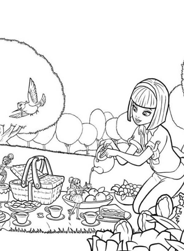 Barbie Thumbelina, : Vanessa Going Picnic with Barbie Thumbelina Coloring Pages