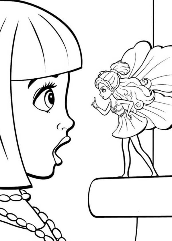 Barbie Thumbelina, : Vanessa Surprised by Barbie Thumbelina Coloring Pages