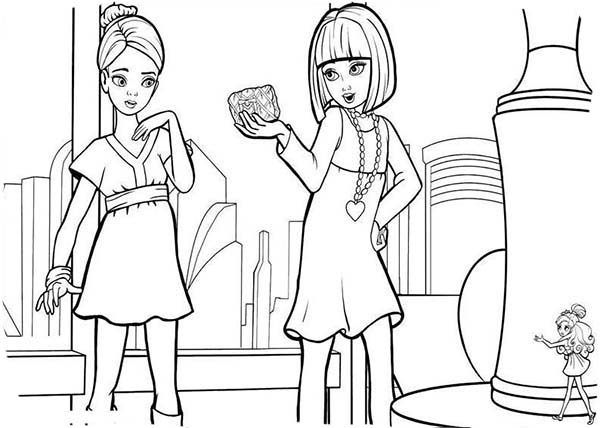 barbie thumbelina vanessa talking to janessa in barbie thumbelina coloring pages