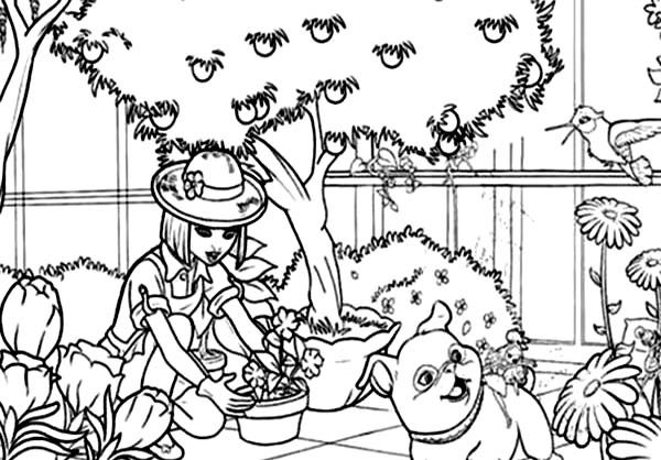 Barbie Thumbelina, : Vanessa Work at Her Garden in Barbie Thumbelina Coloring Pages
