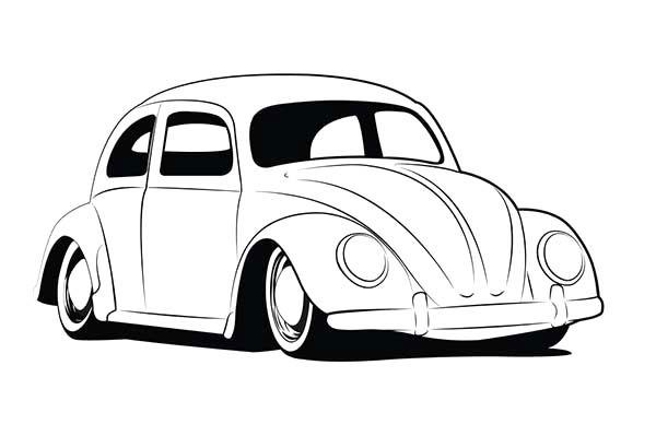 Beetle Car, : Vintage Beetle Car Coloring Pages