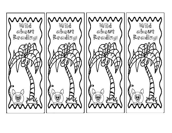 Bookmarks, : Wild about Reading Bookmarks Coloring Pages