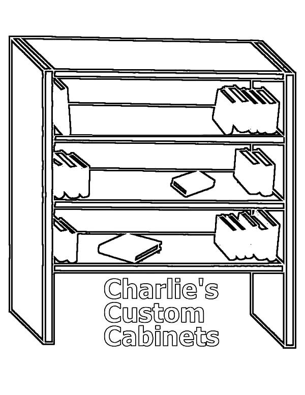 Bookshelf, : Wooden Bookshelf Coloring Pages