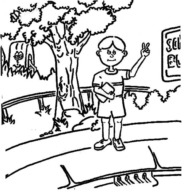 Bus Stop, : You Should Wait at Bus Stop Coloring Pages