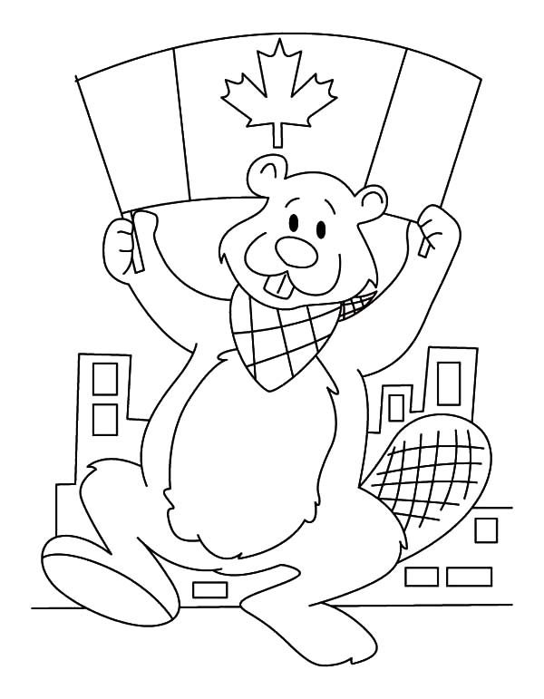 A Beaver with Canada Flag on 2015 Canada Day Event Coloring Pages