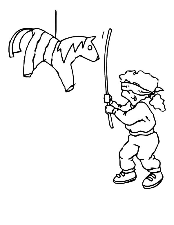 Cinco de Mayo, : A Boy and Pinata in Cinco de Mayo Coloring Pages