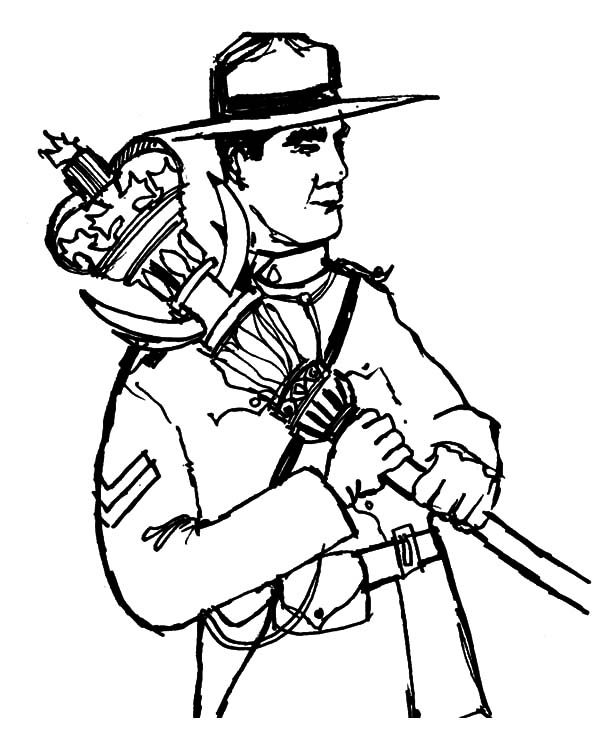 Canada Day, : A Gallant Canadian Ranger on 2015 Canada Day Event Coloring Pages