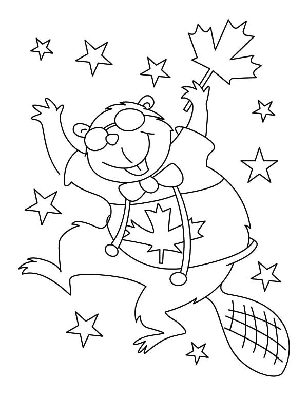 Canada Day, : A Jolly Beaver Dancing on 2015 Canada Day Event Coloring Pages