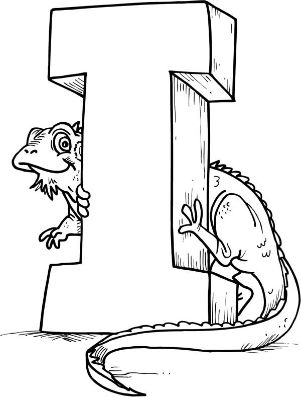 Letter I, : A Lizard and Letter I Coloring Page