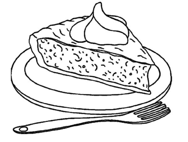 Cake Slice, : A Plate of Pumpkin Cake Slice Coloring Pages