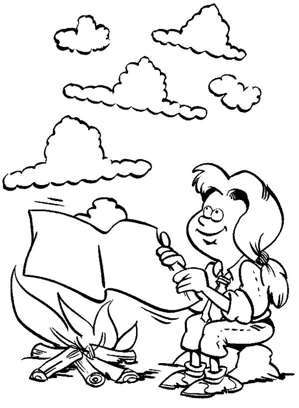 Scouting, : A girl Make Smoke Message in Scouting Coloring Pages