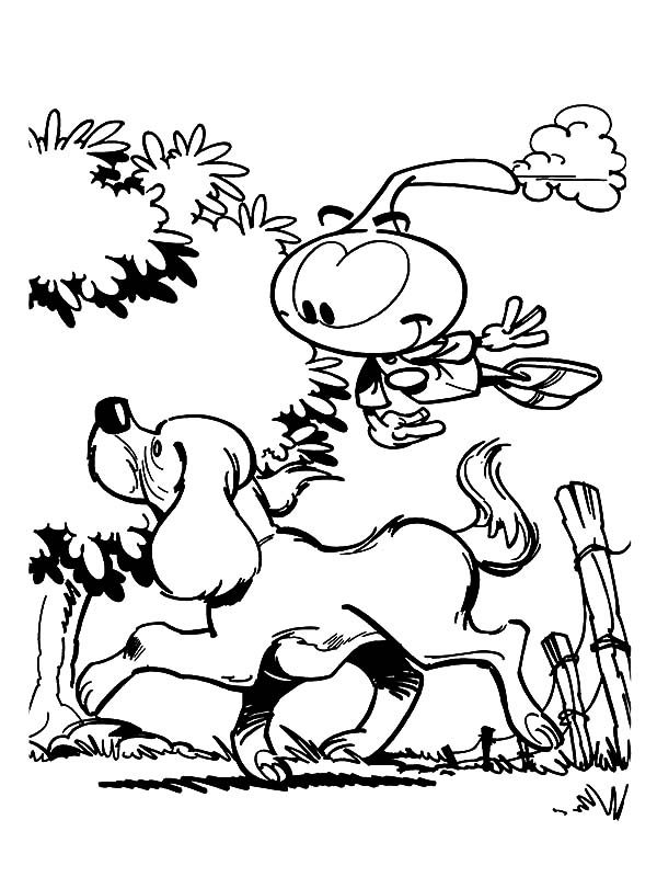 Snorkels, : Allstar Following a Dog Walking Around in Snorkels Coloring Pages