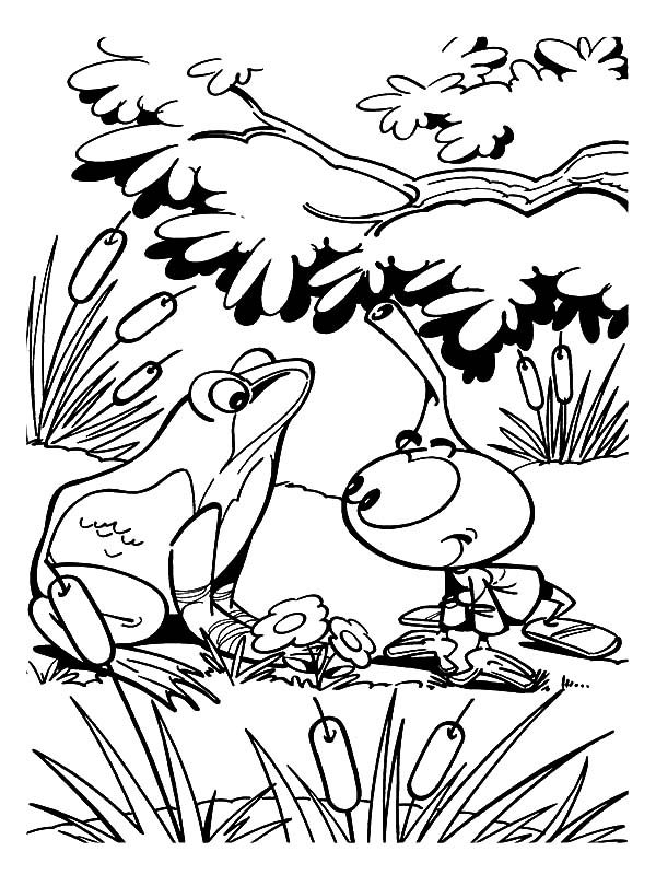 Snorkels, : Allstar Talking to a Frog in Snorkels Coloring Pages