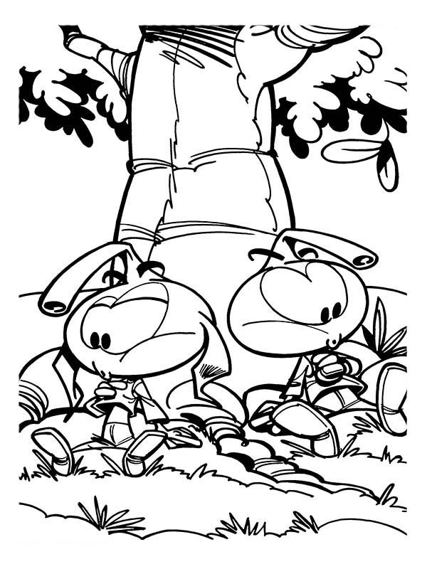 Snorkels, : Allstar and Casey Sitting Under a Big Tree in Snorkels Coloring Pages