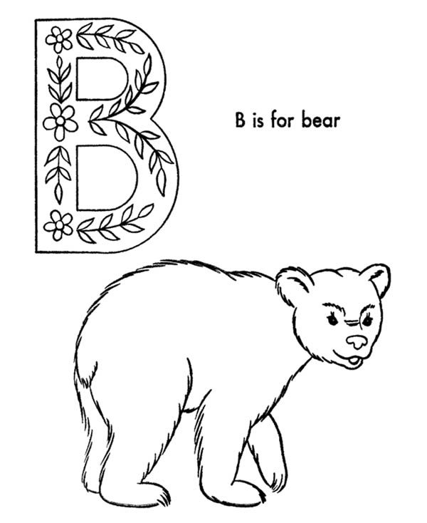Letter B, : Alphabet B is for Bear on Letter B Coloring Page