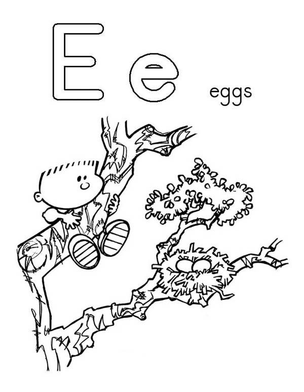 Letter E, : Alphabet Learn Letter E is for Egg Coloring Page