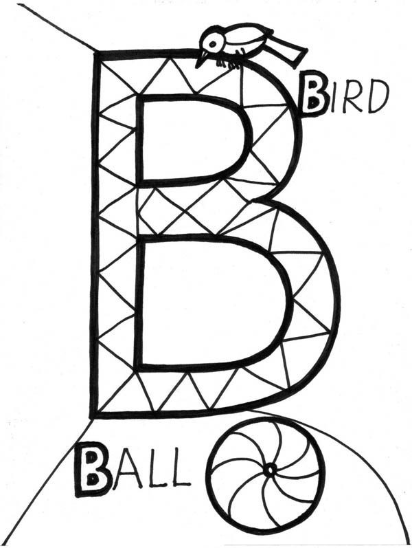 Letter B, : Alphabet Letter B Coloring Page