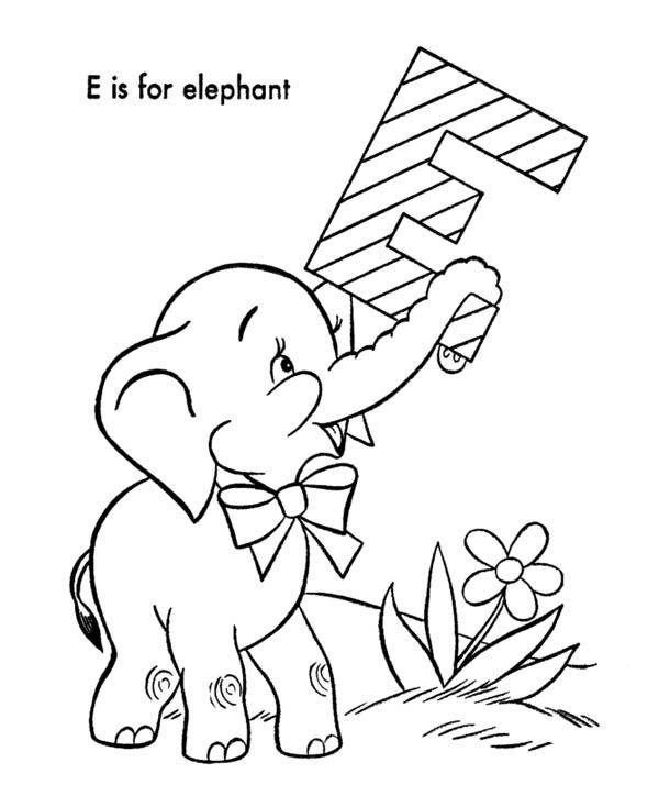 Letter E, : Alphabet Letter E Coloring Page