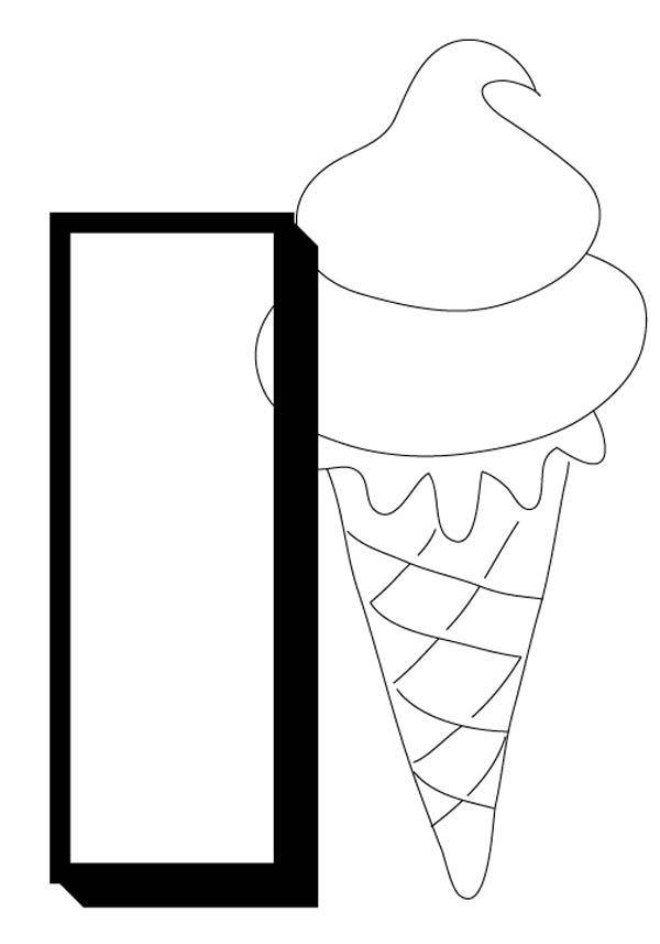 Letter I, : Alphabet Letter I for Ice Cream Coloring Page