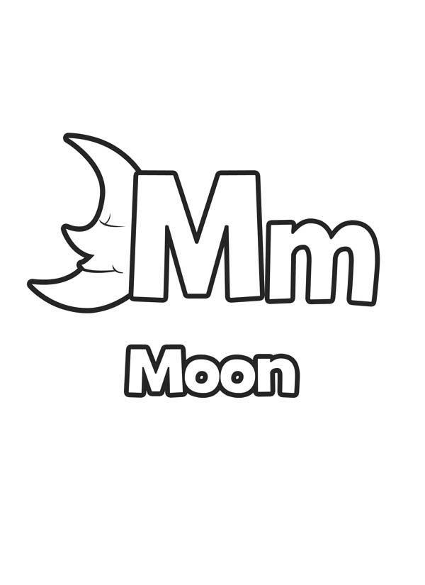 Letter M, : Alphabet Letter M Coloring Page