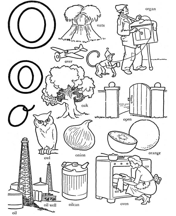 Letter O, : Alphabet Letter O Words Coloring Page