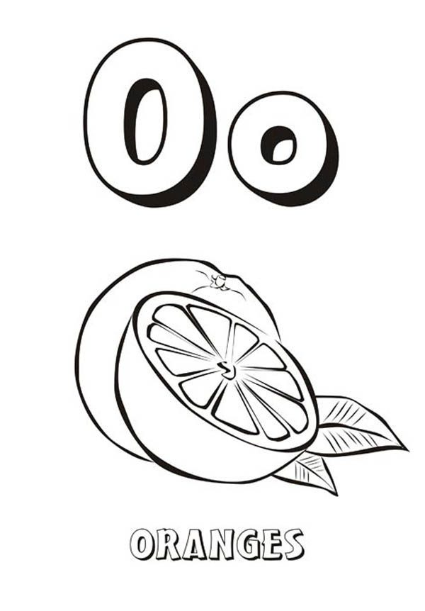 Letter O, : Alphabet Letter O for Orange Coloring Page