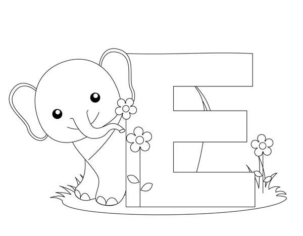 Letter E, : Animal Alphabet Letter E Coloring Page