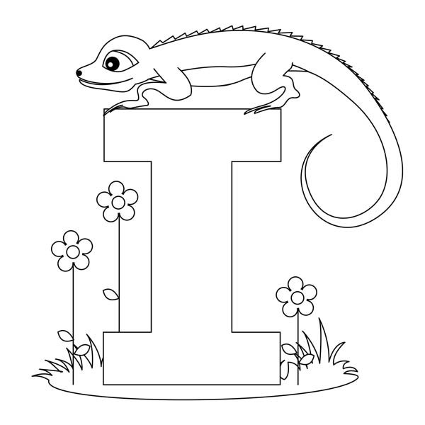 Letter I, : Animal Edition for Letter I Coloring Page