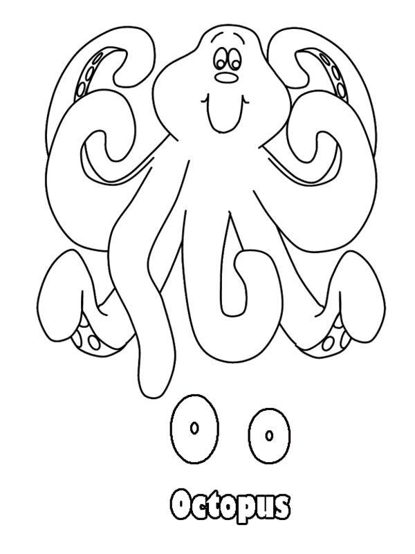 Letter O, : Animal Letter O for Octopus Coloring Page