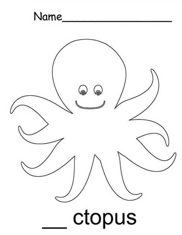 O Octopus Coloring Page Animal from Letter O i...