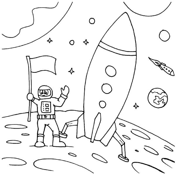 Space Travel, : Astronaut Land on Moon Space Travel Coloring Pages