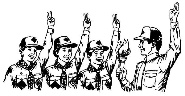 Scouting, : Awesome Scouting Group Coloring Pages
