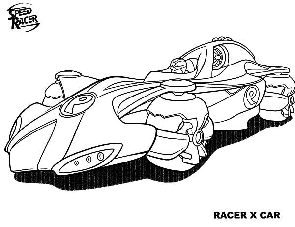 Speed Racer, : Awesome Speed Racer X Car Coloring Pages