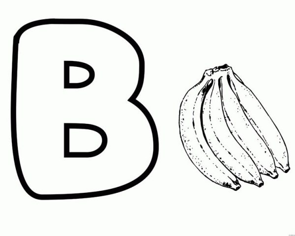 Letter B, : B for Banana on Letter B Coloring Page