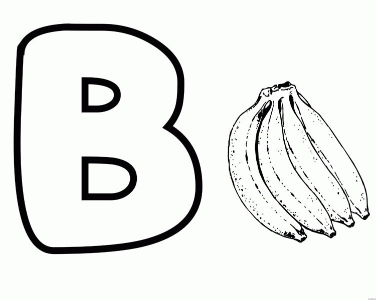 b for banana on letter b coloring page  b for banana on