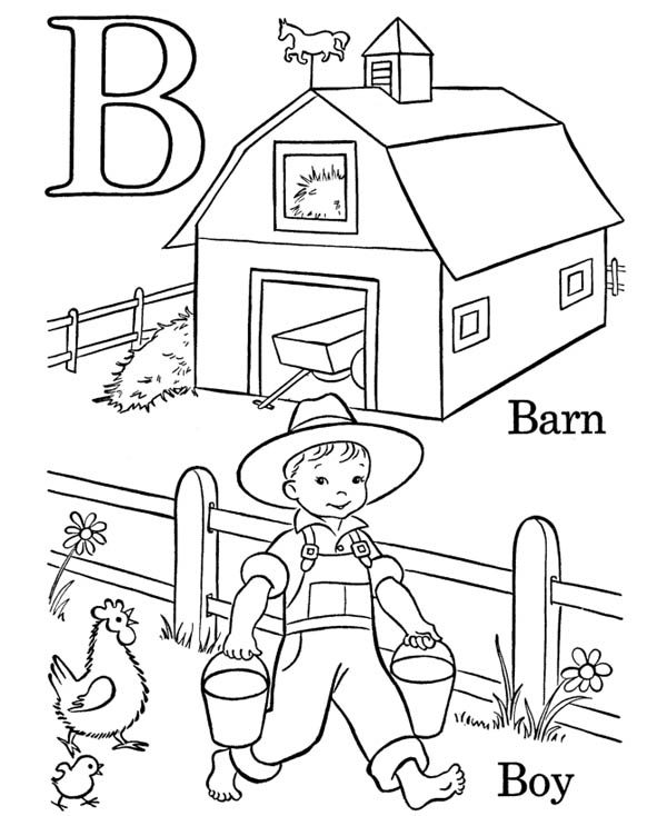 Letter B, : B for Barn on Letter B Coloring Page