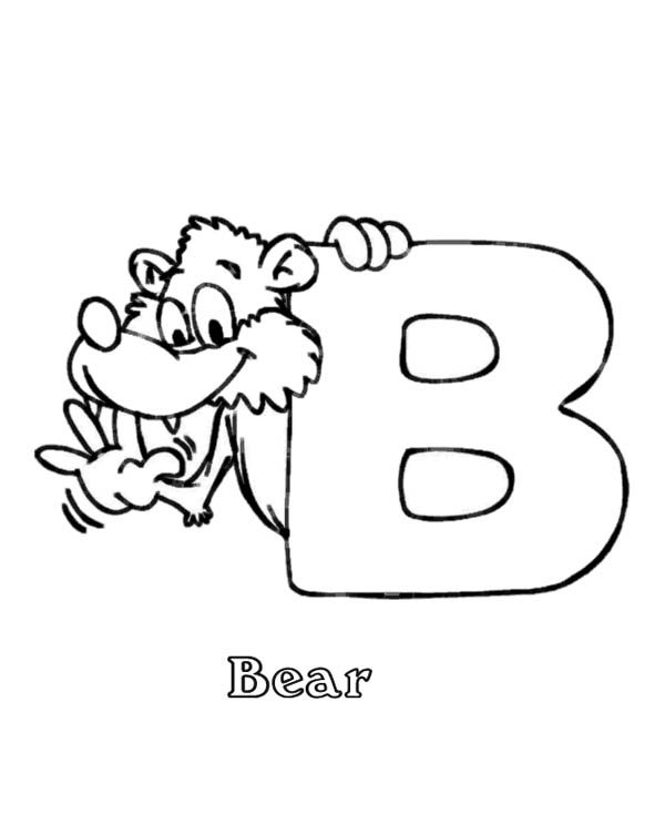 Letter B, : B for Bear on Letter B Coloring Page