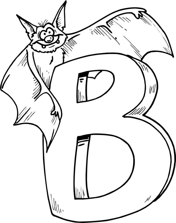 Letter B, : Bat on Letter B Coloring Page