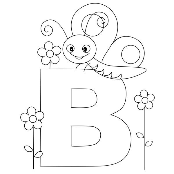 Letter B, : Beautiful Butterfly for Letter B Coloring Page