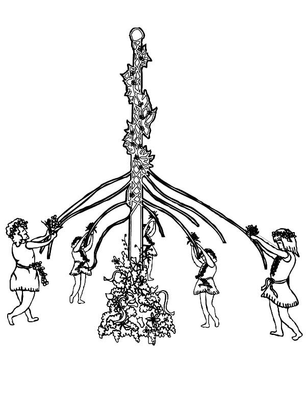 May Day, : Beautiful Maypole on May Day Coloring Pages