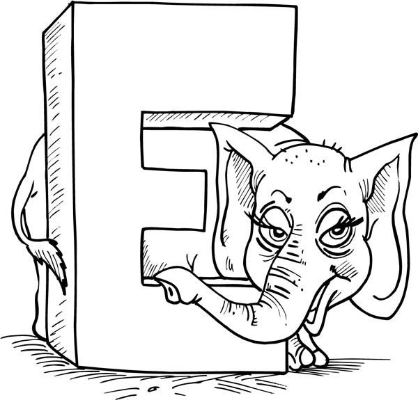 Letter E, : Big Letter E is for Elephant Coloring Page