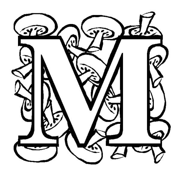 Letter M, : Big Letter M for Mushroon Coloring Page