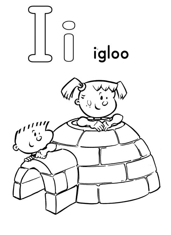 Letter I, : Big and Small Letter I and an Igloo Coloring Page