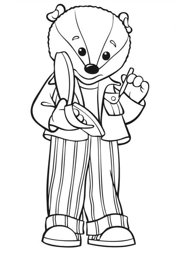 Rupert Bear, : Bill Badger Take a Note in Rupert Bear Coloring Pages