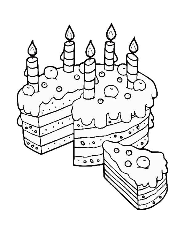 Cake Slice, : Birthday Cake Slice for Mom Coloring Pages