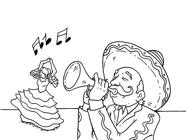 Cinco de Mayo, : Blowing Trumpet for Dancer in Cinco de Mayo Coloring Pages