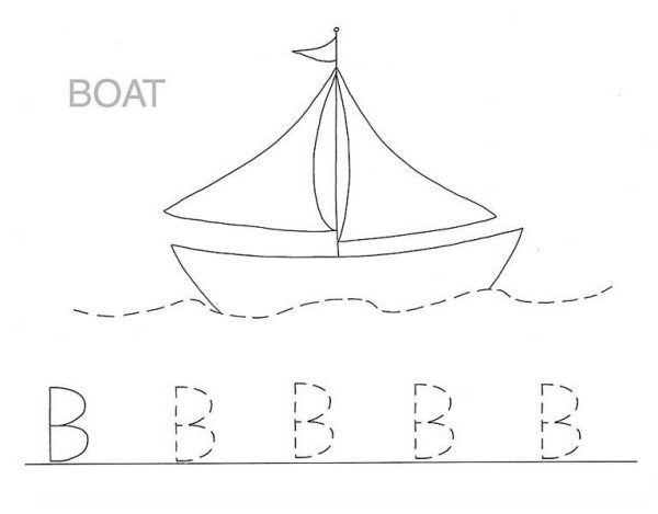 Letter B, : Boat is for Letter B Coloring Page