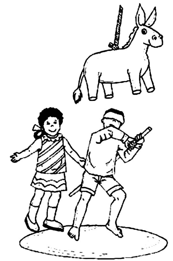 Cinco de Mayo, : Boy Try to Hit Pinata in Cinco de Mayo Coloring Pages