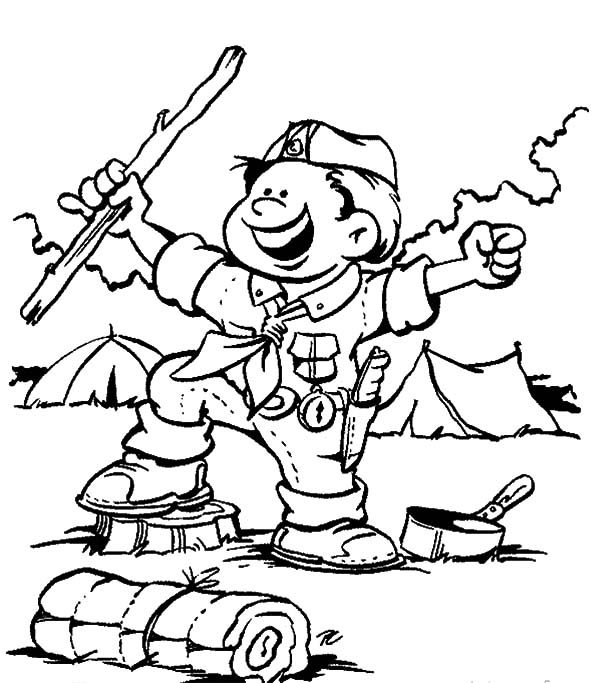 Scouting, : Boy is Happy Scouting Activity Coloring Pages